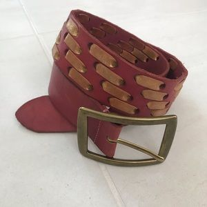 Linea Pelle Leather Bronze Buckle Belt